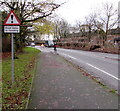 SJ8005 : Warning sign - road liable to flooding, Cosford by Jaggery