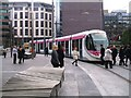SP0787 : Midland Metro approaching Colmore Circus by John M