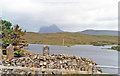 NC2112 : Suilven (2,399 ft.) from Buaile nan Goilean burial ground at Elphin, 1994 by Ben Brooksbank