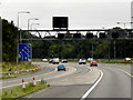 SE1622 : Overhead Signal gantry on the M62 near Brighouse by David Dixon