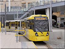 SJ8499 : Tram Approaching Platform D, Manchester Victoria Station by David Dixon