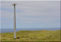 SH7683 : Great Orme cable car pylon by Oliver Mills