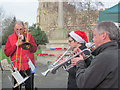 SP9211 : A Brass Band played at the Xmas Farmers Market, Tring by Chris Reynolds