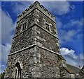 SW9642 : Caerhays, St. Michael's Church: The c15th-16th tower by Michael Garlick
