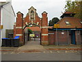 TQ1402 : Entrance to St Mary's Catholic Primary School, Cobden Road  by Peter Holmes