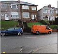 ST3089 : Two flights of steps behind two vehicles, Brynglas Road, Newport by Jaggery