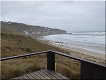 SW3526 : Looking down to Sennen Cove from the lifeguard station by Rod Allday
