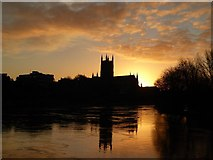 SO8454 : Sunrise over Worcester Cathedral by Philip Halling