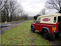 SD7914 : East Lancashire Railway Land Rover and Crossing North of Summerseat Station by David Dixon