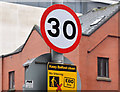 J3474 : 30 mph speed limit sign, Chichester Street, Belfast (January 2016) by Albert Bridge