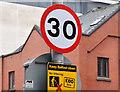 J3474 : 30 mph speed limit sign, Chichester Street, Belfast (January 2016) by Albert Bridge