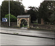 ST3090 : Lychgate and nameboard, St Mary's Malpas, Newport by Jaggery