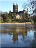 SO8454 : Worcester Cathedral and a swollen Severn by Philip Halling