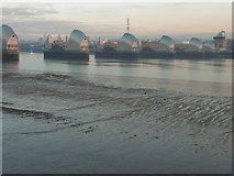 TQ4179 : The Thames Barrier from Thames Barrier Park by Marathon