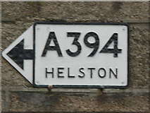 SW7834 : Old road direction sign, Penrhyn by Humphrey Bolton