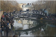 TQ2884 : View of a footbridge over the Regents Canal at Camden Lock by Robert Lamb