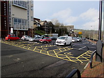 ST1599 : Yellow parking bays near Bargoed Library by Jaggery