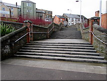 ST1599 : Wide steps up to High Street, Bargoed by Jaggery