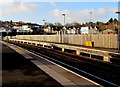 ST3088 : Long wooden fence, platform 4, Newport railway station by Jaggery