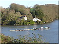 SW8442 : Mid-river mooring, Malpas by Humphrey Bolton