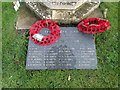 TF9402 : Carbrooke War Memorial marble plaque by Adrian S Pye