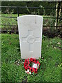 TF9804 : The headstone of Pilot Officer Cromie at Cranworth by Adrian S Pye