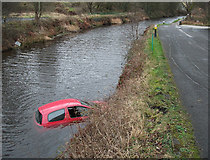 SD9417 : Car in the Rochdale Canal by michael ely