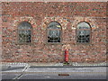 SJ3487 : Three windows in the former Toxteth Dock warehouse by John S Turner