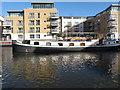 TQ1777 : Saumur, barge moored in Brentford Lock basin by David Hawgood