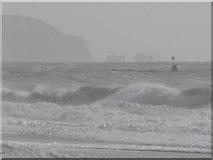 SZ1790 : Hengistbury Head: the breakwater seen over rough seas by Chris Downer