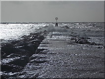 SZ1790 : Hengistbury Head: breakwater at the end of Poole Bay by Chris Downer