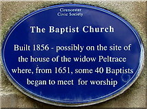SP0202 : Baptist Church blue plaque, Cirencester by Jaggery