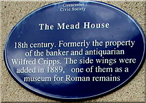 SP0202 : The Mead House blue plaque, Cirencester by Jaggery