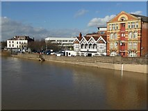 SO8454 : Buildings beside the River Severn in Worcester by Philip Halling