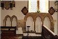 TL7664 : All Saints, Barrow - Piscina & sedilia by John Salmon