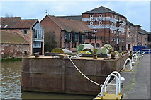 SK7953 : Moored lighter in the basin at Newark on Trent by David Martin