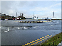NS3174 : Roundabout on the A8 at Port Glasgow by Thomas Nugent