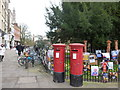TL4458 : Pillar boxes and posters in Cambridge by Richard Humphrey