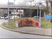 TQ1070 : Decorated subway by the Sunbury Roundabout by David Howard
