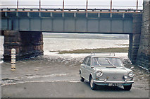 SD0894 : Driving through floods at site of Eskmeals station, 1966 by Ben Brooksbank