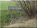 TM3067 : Badingham Village Name sign on the A1120 by Adrian Cable