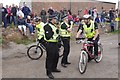 NT3975 : Police on bikes, Cockenzie Harbour by Richard Webb