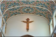 TL7006 : Closer view of the figure of Christ and the beautiful ceiling, Chelmsford Cathedral by Derek Voller