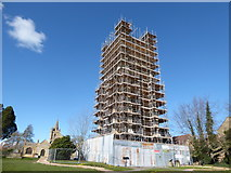 SP0343 : Scaffolding on the tower of Evesham Abbey by Basher Eyre