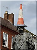 SO8554 : Traffic cone on the Elgar Statue by Philip Halling