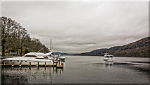 SD3787 : Boats at Lakeside Pier by Peter Moore