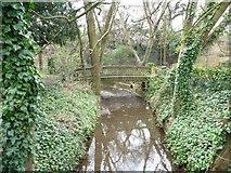 TQ1289 : Footbridge in Bridge Street Park, Pinner by Christine Johnstone