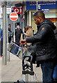 SO9198 : Busking in Dudley Street, Wolverhampton by Roger  Kidd