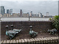 TQ3679 : Bronze Statues near Surrey Docks Farm, Rotherhithe Street, London SE1 by Christine Matthews