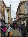 SO8554 : Entry to Church Street, Worcester; St Swithun's Church tower is half in view. by Robin Stott